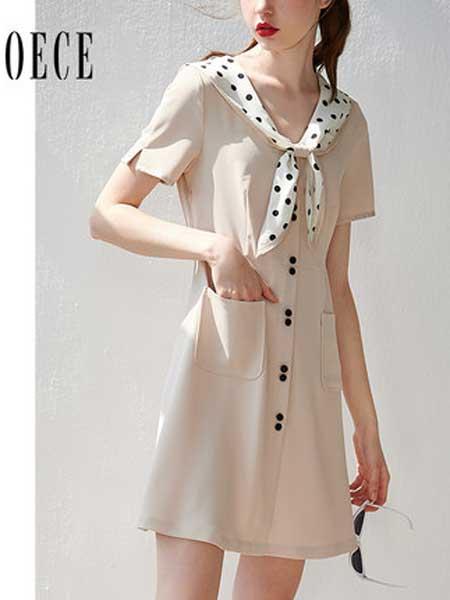 欧艺女装品牌2019春夏新款乖巧女孩波点领系带甜美减龄仙女连衣裙