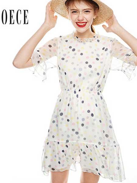 欧艺女装品牌2019春夏新款温柔甜美花边领喇叭袖复古波点雪纺连衣裙