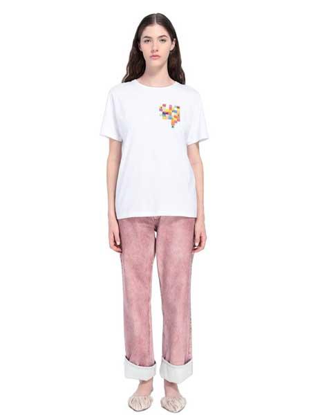 Missoni女装品牌2019春夏新款韩版时尚宽松休闲百搭圆领短袖T恤