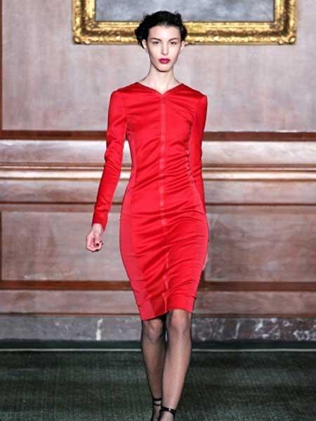 Bill Blass比尔·布拉斯女装品牌新款时尚圆领修身短袖短款连衣裙