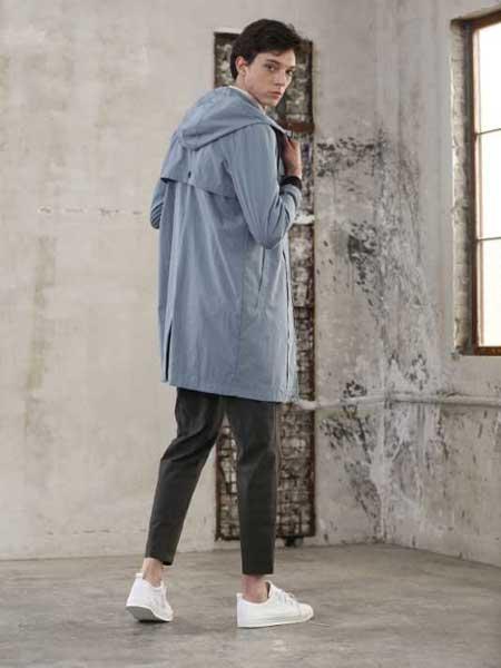 玖生活男装品牌新款韩版修身风衣中长款外套