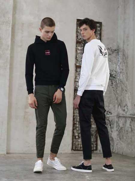 玖生活男装品牌新款韩版潮流黑色套头薄连帽衫卫衣