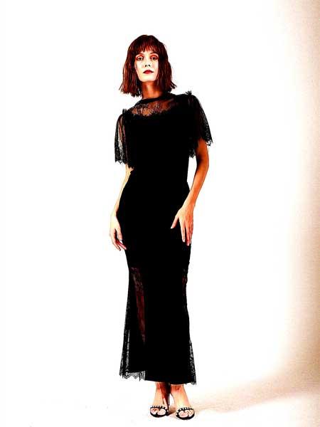 FIFILAPIN女装品牌2019春夏新款圆领五分袖收腰包臀修身复古优雅蕾丝裙