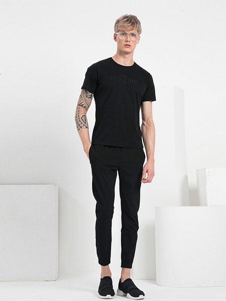 V.SHOLIDAY男装品牌2019春夏新品修身休闲百搭圆领绣花短袖T恤