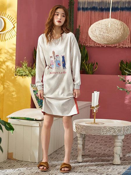 黛梦思内衣品牌2019春夏可爱卡通全棉时尚中裙睡衣