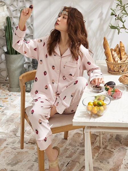 黛梦思内衣品牌2019春夏新款草莓开扣纯棉长袖外穿家居服