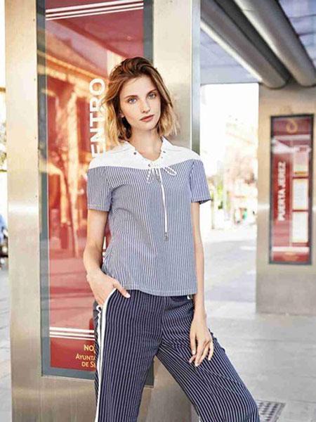 哥邦女装品牌2019春夏纯色拼接一字领上衣抽绳短款修身T恤