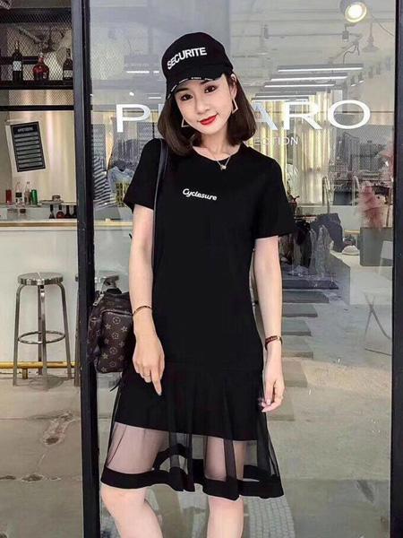 Ohmeygic欧美琪女装品牌2019春夏新款遮肚减龄复古网纱大码短袖连衣裙