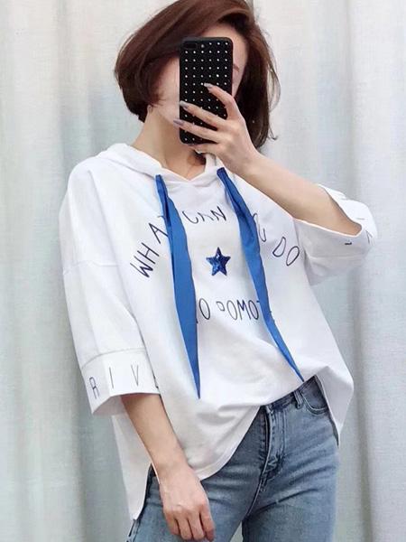 Ohmeygic欧美琪女装品牌2019春夏新款刺绣短袖t恤甜美系带连帽上衣