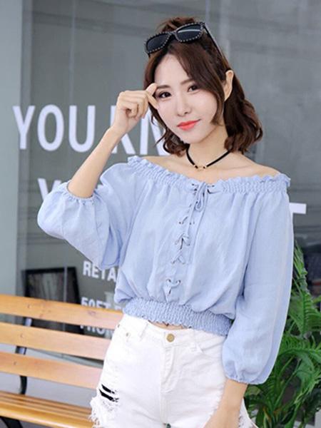 Ohmeygic欧美琪女装品牌2019春夏新款韩版一字肩衬衫chic衬衣港味复古很仙的雪纺上衣
