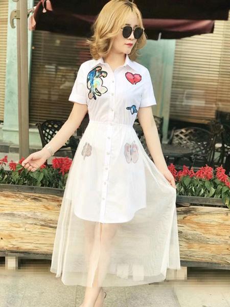 Ohmeygic欧美琪女装品牌2019春夏新款韩版长袖学生休闲中长款时尚网纱连衣裙