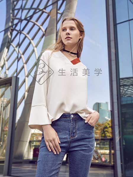 37°生活美学女装品牌2019春夏新款雪纺衫七分袖百搭韩版宽松显瘦V领上衣