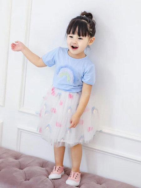 班尼豆童装品牌2019春夏女童爱心贴布网纱短袖T恤