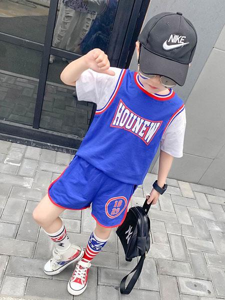 班尼豆童装品牌2019春夏新款运动短袖上衣中大童短裤两件套