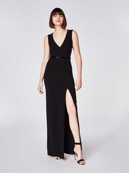妮可·米勒女装品牌2019春夏新款黑色长款小礼服晚礼服性感V字修身显瘦连衣裙