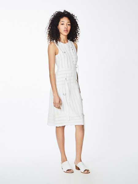 妮可·米勒女装品牌2019春夏新款时尚收腰通勤显瘦无袖连衣裙
