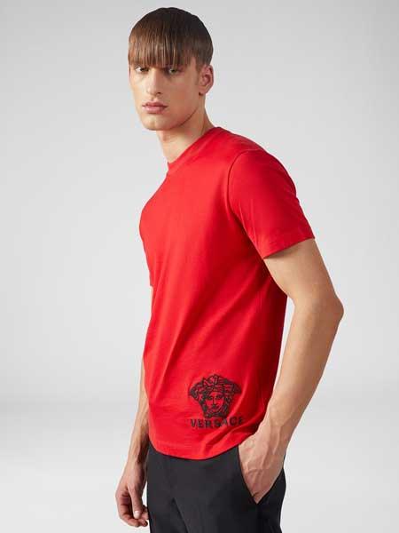 范思哲(versace)男装品牌2019春夏新款时尚休闲简约百搭圆领短袖T恤