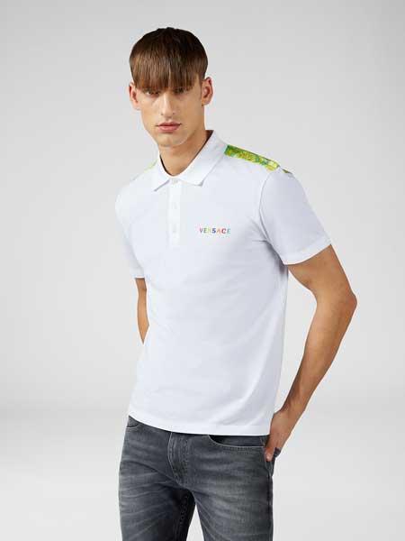 范思哲(versace)男装品牌2019春夏新款时尚休闲宽松百搭翻领短袖T恤