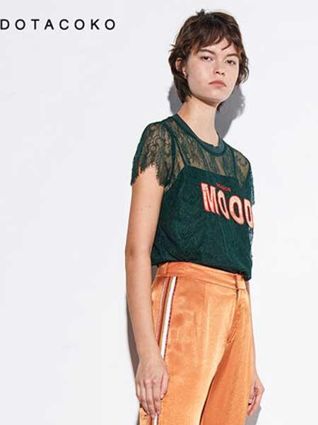 DOTACOKO女装品牌2019春夏新款短袖贴布绣蕾丝上衣洋气衬衫
