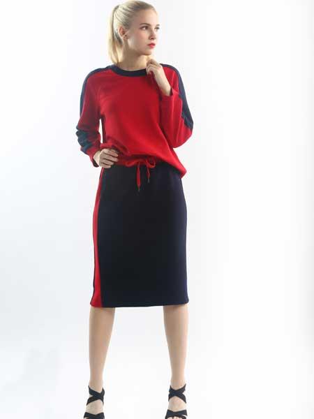 奈玛施女装品牌2019春季新款修身中长款运动休闲连衣裙套装