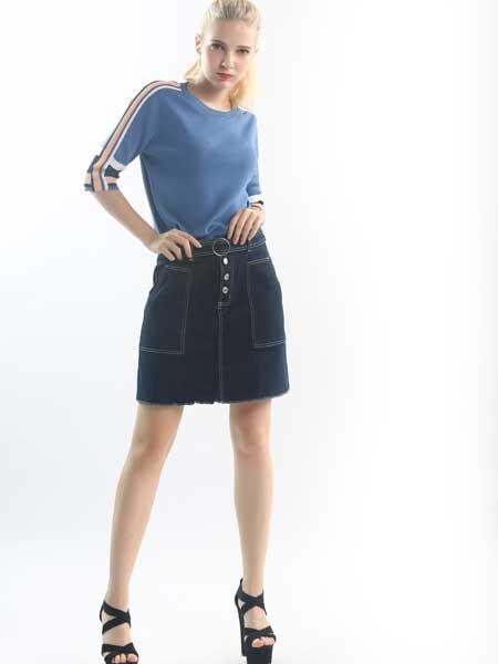 奈玛施女装品牌2019春季新款短款时尚磨毛牛仔半身裙