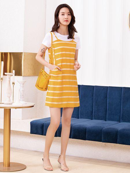 布根香女装品牌2019春夏圆领中腰吊带明黄宽松两件套裙