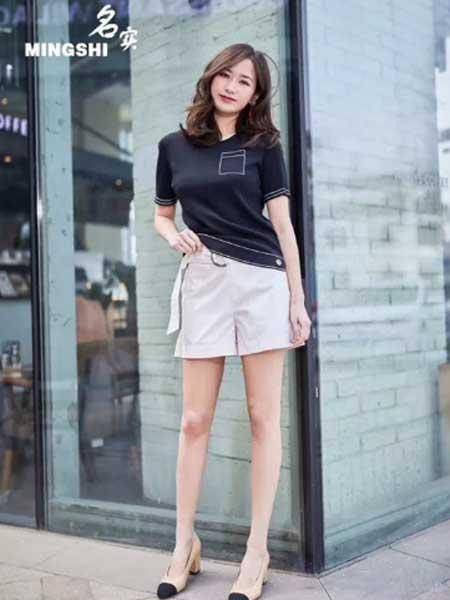 名实女装品牌2019春夏新款圆领简约休闲百搭显瘦短袖T恤