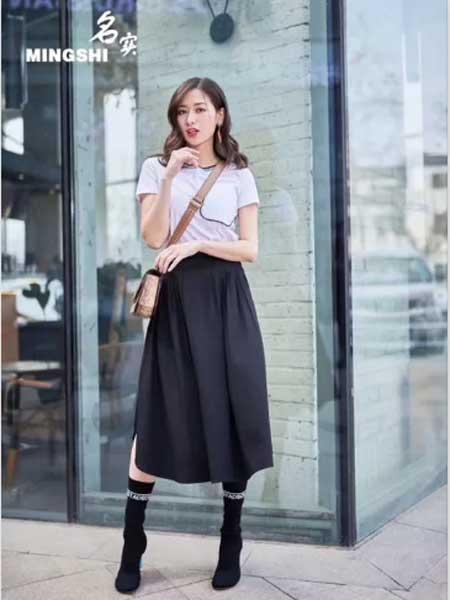 名实女装品牌2019春夏新款高腰黑色A字裙中长款裙子