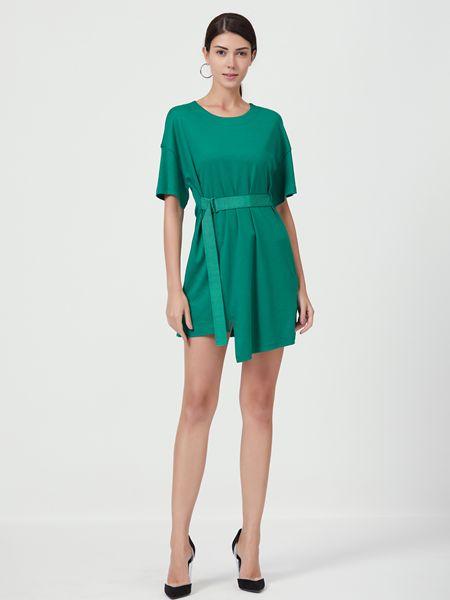 Ms.Leyna女装品牌2019春夏短袖宽松腰带收腰上衣