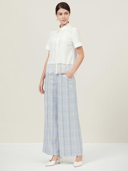 Ms.Leyna女装品牌2019春夏新款格子宽松时尚透气清凉长裤