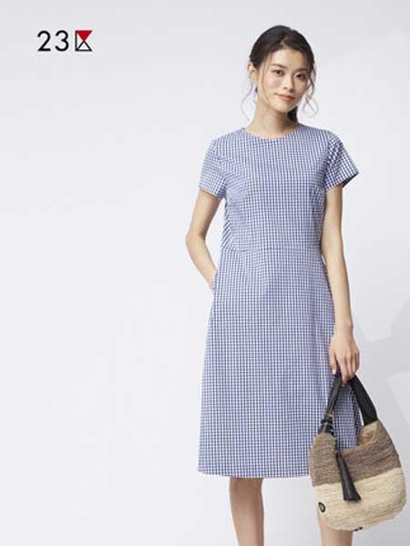23区女装品牌2019春夏新款气质收腰显瘦短袖格纹连衣裙