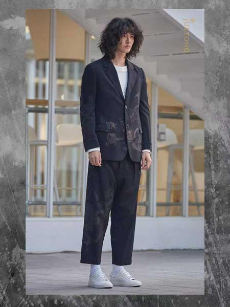 觉同JUETONG男装品牌新款韩版复古棉麻一粒扣西装宽松显瘦长袖亚麻外套