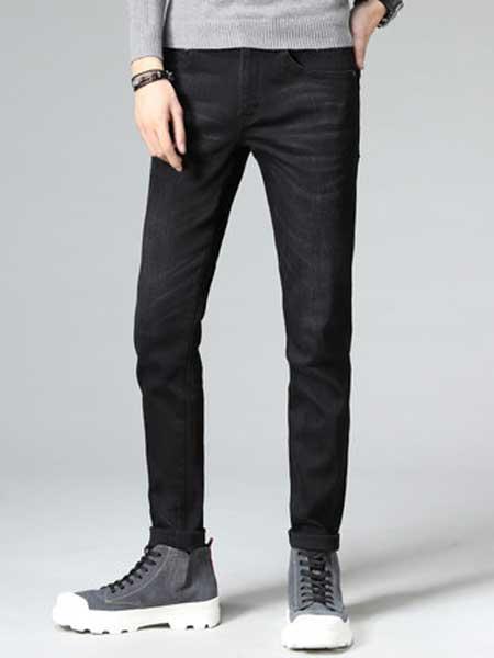 Lee Cooper休闲品牌2019春夏新款黑色裤子韩版弹力百搭青年男士长裤