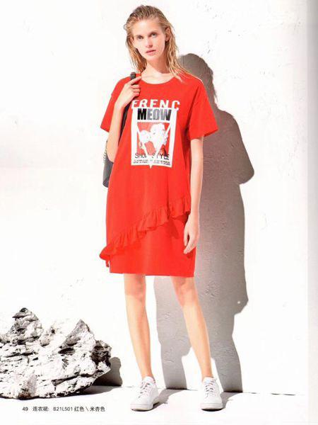 衣魅人女装品牌2019春夏新款纯棉港风潮流字母连衣裙