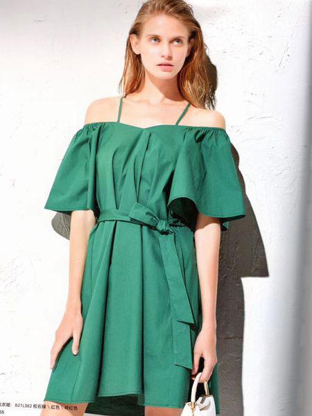 衣魅人女装品牌2019春夏双细肩带荷叶边设计墨绿色连衣裙