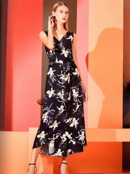 衣魅人女装品牌2019春夏印花系带雪纺连体阔腿裤长裤连体衣潮
