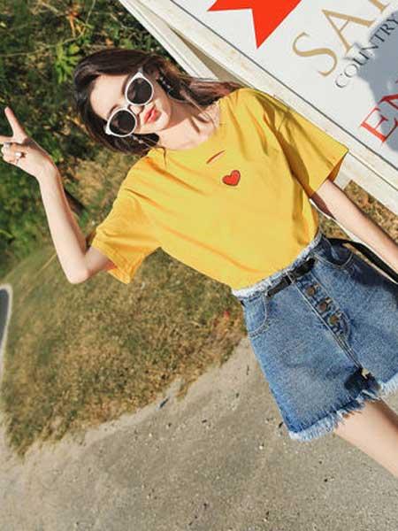 衣品天成女装品牌2019春夏新款学生圆领刺绣韩版上衣潮短袖T恤