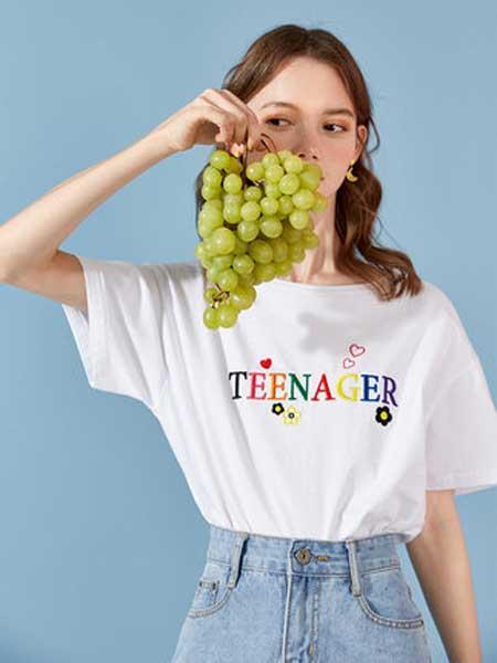 衣品天成女装品牌2019春夏新款韩版时尚字母爱心刺绣打底衫上衣短袖t恤