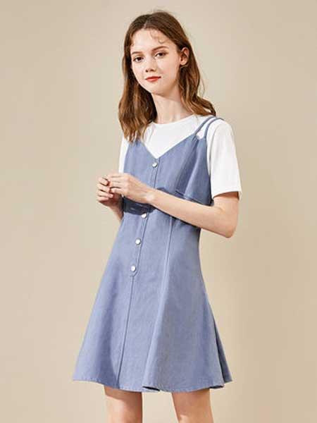 衣品天成女装品牌2019春夏新款纯色假两件打底裙短袖双肩带短裙子连衣裙