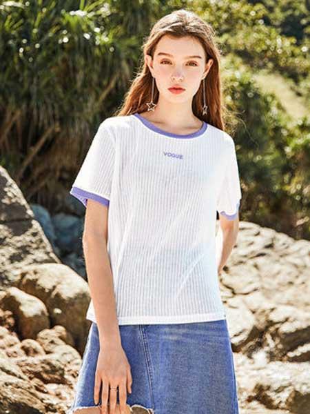 衣品天成女装品牌2019春夏新款韩版撞色学院风双色圆领短袖字母印花T恤