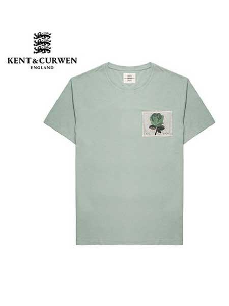 肯迪文KENT&CURWEN 男装品牌2019春夏新款棉质休闲玫瑰短袖T恤