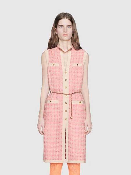 Gucci古驰女装品牌2019春夏新款气质名媛无袖背心裙连衣裙