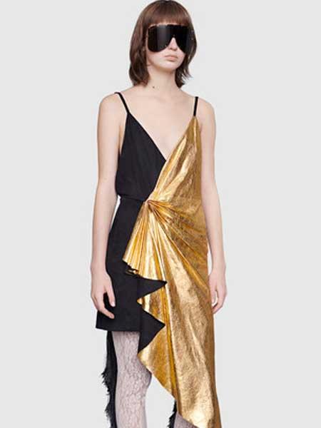 Gucci古驰女装品牌2019春夏新款时尚气质拼接拼色连衣裙