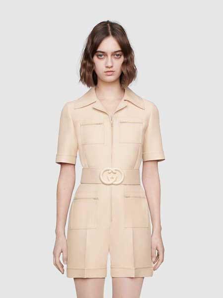 Gucci古驰女装品牌2019春夏新款饰腰带高腰显瘦短袖连体裤