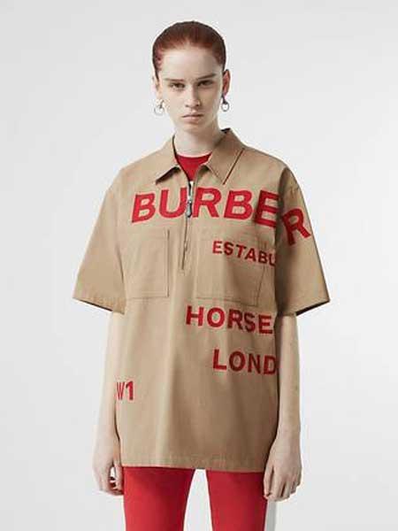 Burberry博柏利休闲品牌2019春夏新款时尚印花短袖棉质衬衫