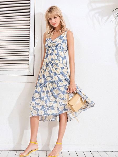 Bally巴利女装品牌2019春夏新款气质V领高腰中长款碎花A字雪纺吊带连衣裙