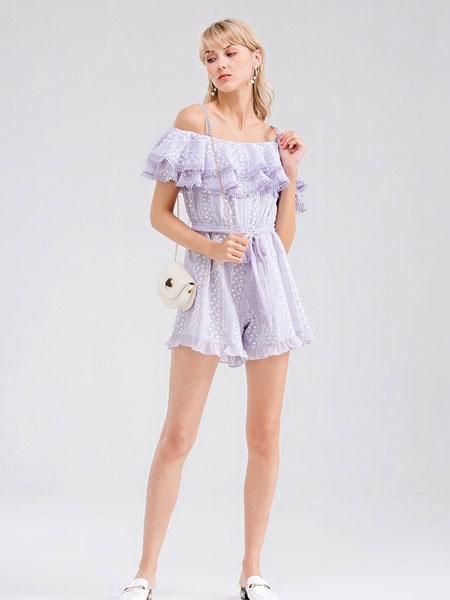 Bally巴利女装品牌2019春夏新款 紫芸荷叶边修身连体裤