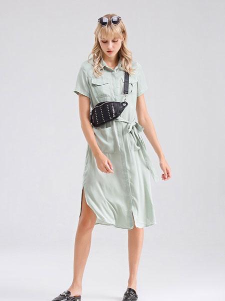 Bally巴利女装品牌2019春夏新款翻领短袖中长款韩版衬衣裙