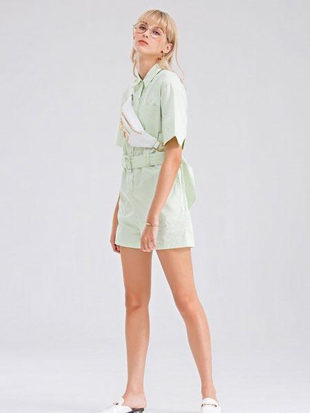Bally巴利女装品牌2019春夏潮流新款绿色清凉毛边破洞牛仔半裙