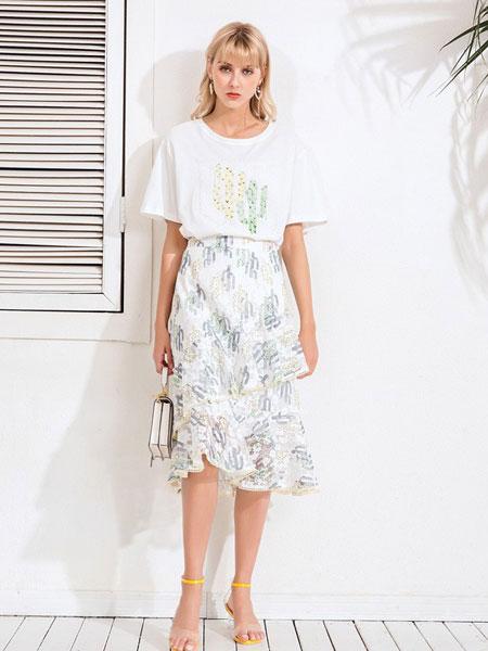 Bally巴利女装品牌2019春夏韩版舒适短袖棉T雪纺两件套裙